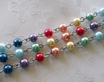 """One Meter 39.5"""" Multi Color Glass Pearl 6mm Beaded Rosary Link Chain Silver 987"""