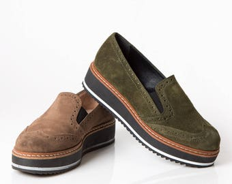 Oxford type slip on leather shoe