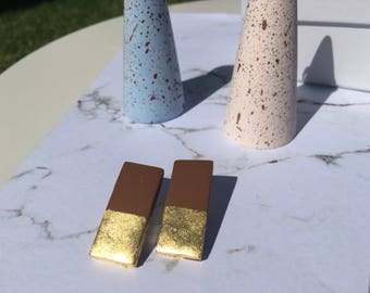 Gold Foil Chocolate Polymer Clay Earrings