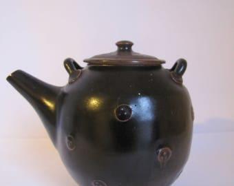 Vintage Studio Pottery Teapot, Dark Brown Art Pottery Teapot.