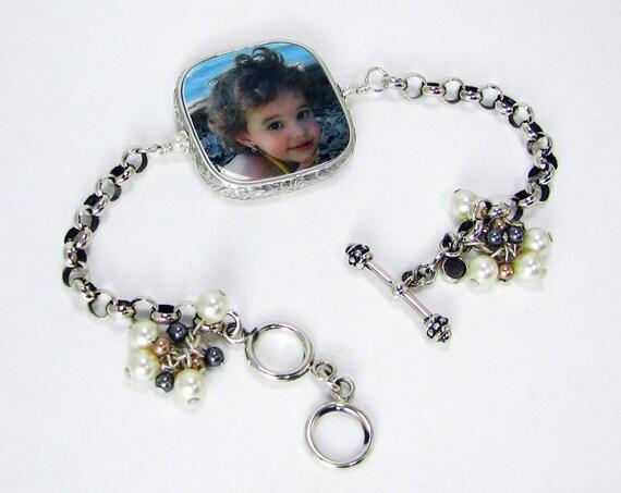 Custom Sterling Framed Photo Charm on a Rolo Chain Bracelet - FP2RFB5a