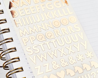 Letter Stickers, Alphabet Stickers, Rose Gold Stickers, Book Decorations, Planner Stickers, Foil Stickers, Sheet of 85 Stickers