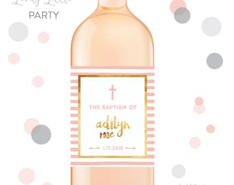 Stripes First Communion wine labels, Baptism wine labels, Dedication wine labels - style 518