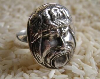Heavy Sterling Silver Gorgon Ring