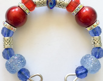 Red and blue European charm  bracelet
