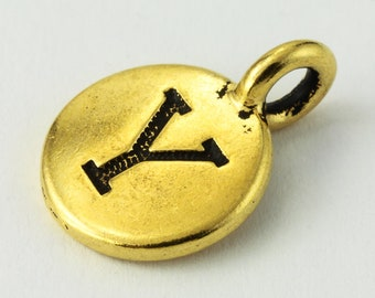 "17mm Antique Gold Tierracast Pewter Letter ""Y"" Charm #CKY251"