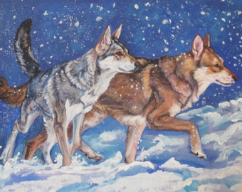 "Saarloos Wolfdog Wolfhound CANVAS PRINT of LAShepard dog painting art 8x10"""