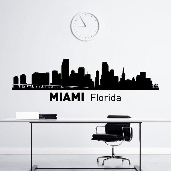 Miami Skyline Wall Decal City Silhouette Florida State Wall - Custom vinyl decals miami