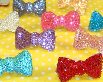 6 Dust Plugs Sparkle Bows Cell Phone Charms Assorted Colors Acrylic Crystal Rhinestone Jewelry Supplies MP3 Mothers Day Best Friend Gift