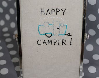 """Hand Embroidered Retro Vibe Happy Camper in Chrome 4X6"""" tilting frame"""