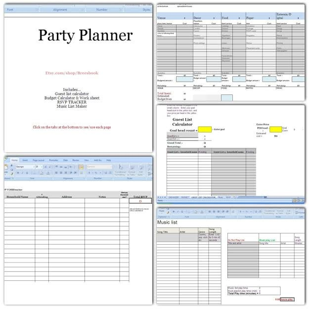 Party Planner Budget Headcount Play List Music Rsvp
