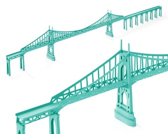 St Johns Bridge, assembled model || 45 inches long model in teal green color