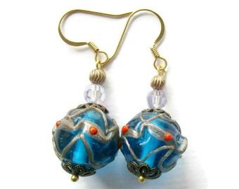Vintage glass bead earrings, upcycled earrings, blue bead earrings, vintage wedding cake bead earrings