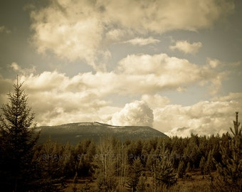 Montana Muted Mountains Sky Photographic Art Print, Wall Art for Home decor, 12 Sizes Available from Prints to Mounted Canvas
