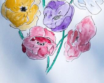 Custom Watercolor Flower Painting