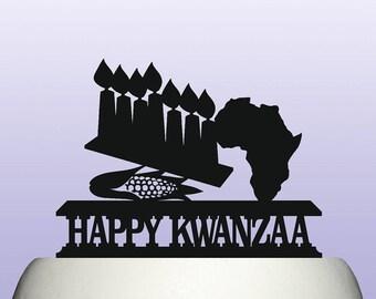 Acrylic Kwanzaa African American Cultural Celebration Festival Cake Topper