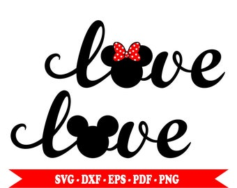 Mickey Minnie mouse svg head love text, svg clip art digital format svg, eps, dxf, png, pdf. For Silhouette Cameo, Cricut, vinyl, embroidery