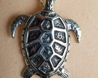 TURTLE Pendant, Pacific Northwest design Solid Sterling crafted  in USA  2/3 oz