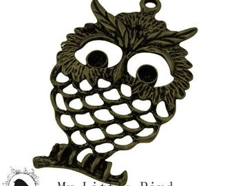 1 x 58x37mm Antique Bronze OWL pendant