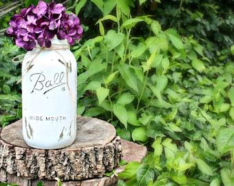 Painted Mason Jar Vase. Half Gallon Mason Jars. Bud Vase. Glass Vase. Floral Arrangement. Flower Holder. Mason Jar Vase. Rustic Vases.