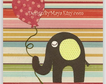Baby room wall art, Nursery Art Decor, Kids Print,gender neutral nursery, red, blue green, yellow, stripesBig red balloon
