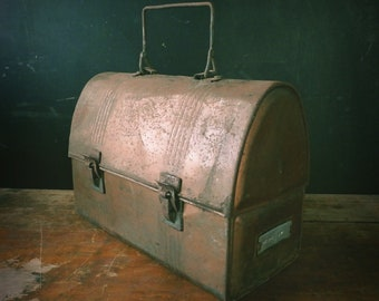 Vintage 1920s Copper Metal Lunchbox with Name Plate