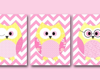 Kids Decor Kids Wall Art Owl Decor Baby Girl Room Decor Baby Girl Nursery Print Baby Girl Nursery Decor Kids Art set of 3 Pink Yellow