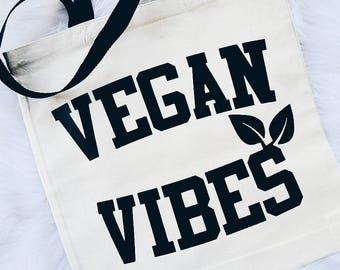 Vegan Vibes Veganism Animal Rights Reusable Canvas Tote Bag