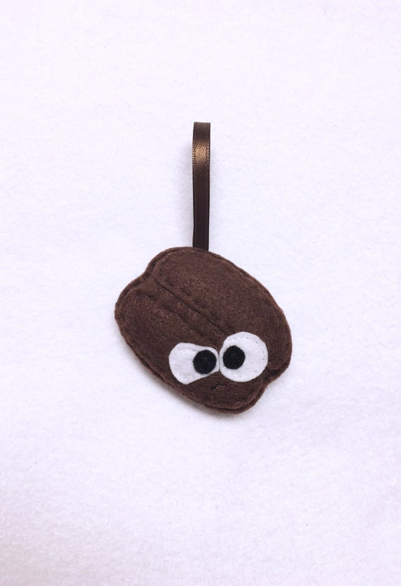 Coffee Bean Ornament, Christmas Ornament, Carlos the Coffee Bean, Felt Coffee, Super Food, Foodie Gift, Coffee lover gift