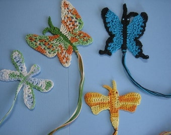 Butterflies, dragon flies and moths from downunder - crochet patterns for bookmarks and motifs