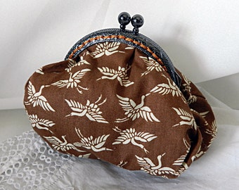Retro purse beige fabric, birds