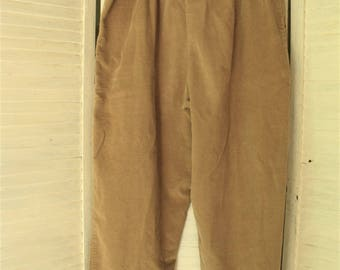 Corduroy Pants/ Retro Cotton Cords/ Size 16P Retro Baggy/ Elastic Waist Pants/ Thrifted Couture/ Funky Corduroy Thrift/ Shabbyfab Funwear