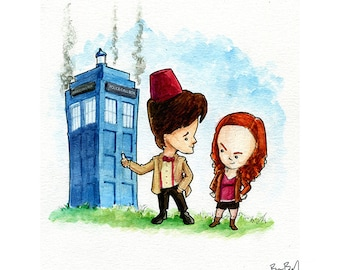 Dr. Who and Amy Pond Watercolor Print