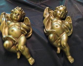 Beautiful Pair Of Vintage Gold Cherub Scone Wall Sculptures