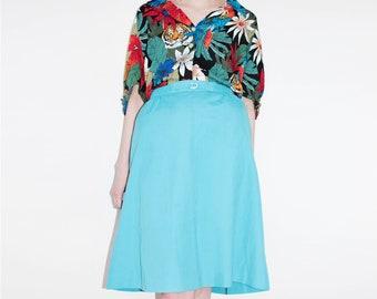 Aqua Blue Skirt | Vintage Skirt | Skirt With Pockets | High Waisted Skirt | Summer Skirt | A Line Skirt | Boho Skirt