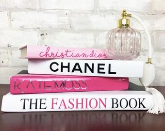 4 BOOK PYRAMID - Pink/Silver/White/Black - Designer Book Set, Chanel, Dior, Kate Moss, The Fashion Book, Coco Chanel, Luxury Home Decor