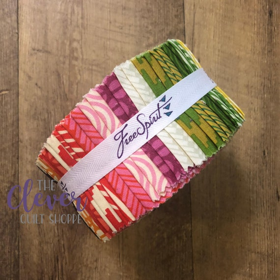 """Jelly Roll 2.5"""" Strips, Free Spirit, True Colors 2 by Heather Bailey, 40 pcs Precut Quilting Fabric"""
