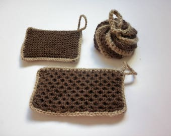 Set of 3 tawashis / washable sponges - brown - beige strap