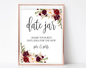 Floral Date Jar Sign Date Night Sign Date Jar Ideas Date Ideas Sign Date Night Jar Date Sign PDF Instant Download 4x6,5x7,8x10 Boho Chic
