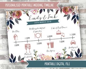 PRINTABLE Wedding Timeline - Dusky Pink and Blue