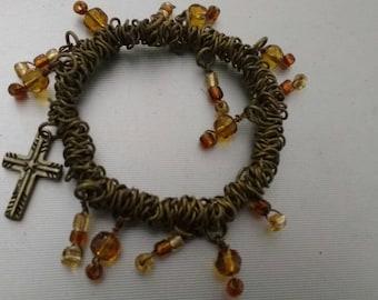 Bronze Adjustable Bracelet With Beads & A Cross