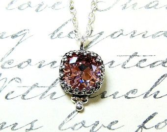 """Antique Sterling Silver Necklace with Cushion cut """"Antique Pink"""" Swarovski Crystal Tiara Crown like Bezel"""
