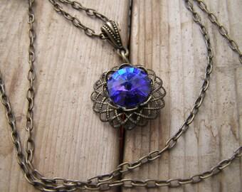 Swarovski Crystal Necklace, Sapphire Necklace, Antique Brass Filigree Necklace, Vintage Necklace, Heliotrope Crystal Pendant, Purple