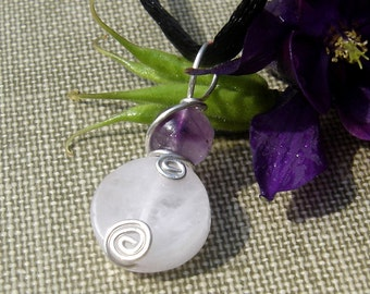Rose Quartz Pendant With Amethyst, Rose Quartz Necklace, Sterling Silver Stone Pendant, Pink Stone Jewelry Wire Wrapped, Mother's Day Gift