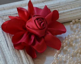 """Satin Fabric Roses, Rolled Rosettes, Red Satin Rolled Rosettes, 3"""" Satin Roses, Rolled Roses, Rolled Satin Roses, A10"""