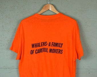 70s Vintage t-shirt / Orange / Whalens - A Family of Careful Movers / Hanes all cotton / Soft & Thin / Fits like a Large