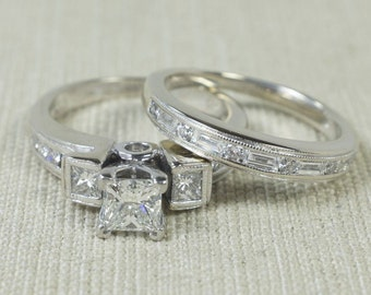 Lovely Sparkling 14K White Gold 1.40ctw Princess Cut Three Stone Engagement Ring & Matching Wedding Band Bridal Set Size 5.75 FREE SHIPPING!