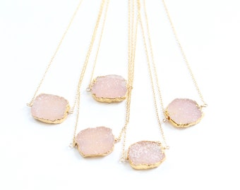 Blush and Gold Druze Necklaces by Bare and Me, Blush Druzy Necklace, Blush Wedding Party Gifts, Blush Bridesmaid Gifts, Blush Druze Necklace