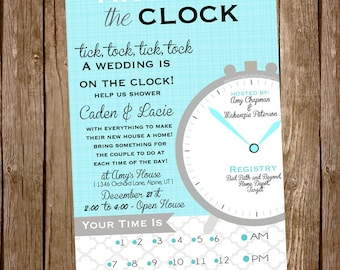 Teal Around The Clock Bridal Shower Invite, can be any event, grey and bright teal, modern and classy, bride to be, hostess, buy it now!