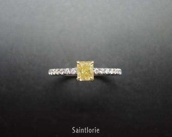 0.4 Carat Yellow Diamond Engagement Ring Yellow Diamond Ring